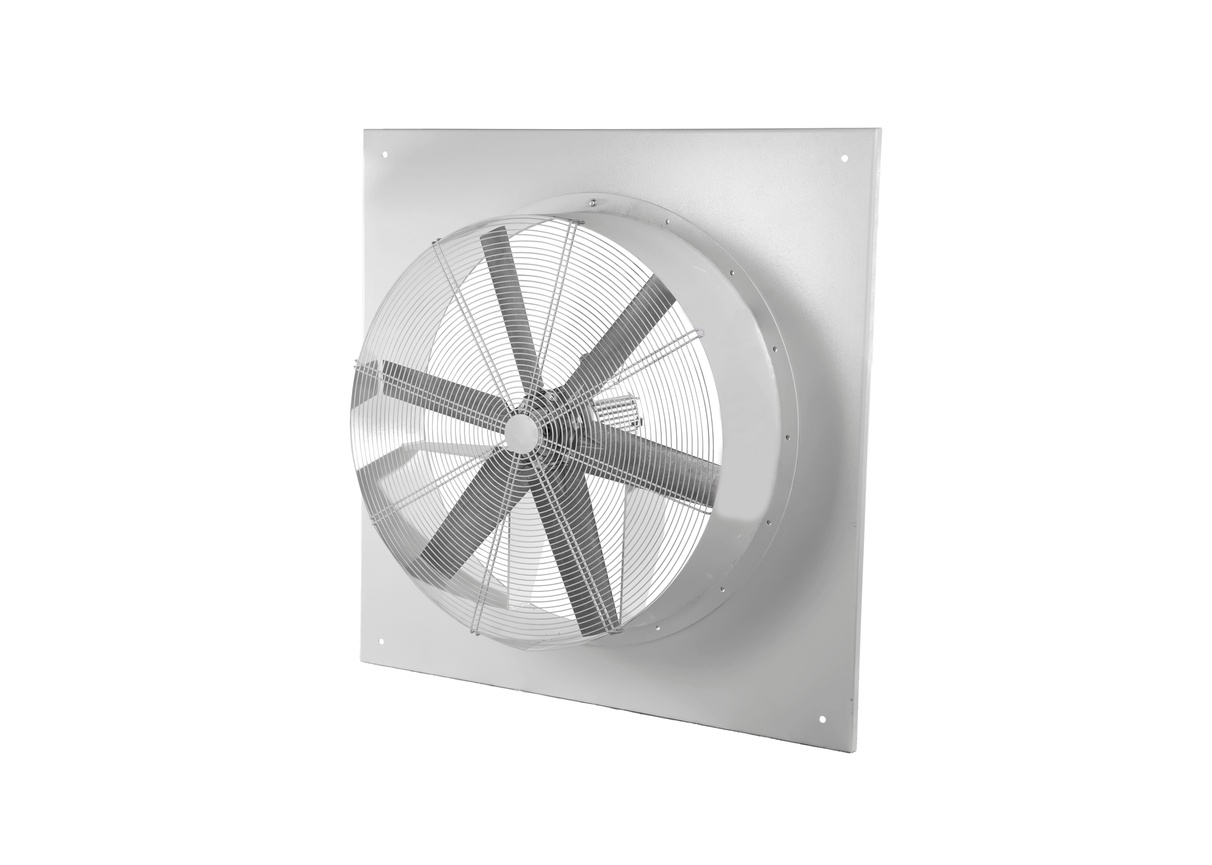 Wall-electric-extractor-fan-isolated-on-white-background.--It-removes-airborne-grease,-combustion-products,-fumes,-smoke,-odors,-heat,-and-steam-from-the-air-by-evacuation-of-the-air-and-filtration.-841909776
